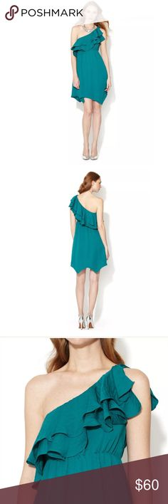 "REBECCA TAYLOR VERDE ONE SHOULDER RUFFLE DRESS REBECCA TAYLOR VERDE ONE SHOULDER RUFFLE DRESS  SIZE 4  NEW WITH TAGS $250  Tiers of cascading ruffles accent the single shoulder on this Rebecca Taylor dress, rendered in a bold emerald. Covered elastic cinches the waist for a flattering silhouette.  Fabric Content: 100% Polyester Details: One Shoulder, Ruffled Tiers at Bodice, Elastic Waistband, Unlined, Notched Hemline Measurement: Shoulder Seam to Hem Measures Approx. 36"" Product Care: Dry…"