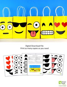 DIY Emoji Favor Bags. Simply Download, Print, Cut and Paste. Print as many copies as you need.