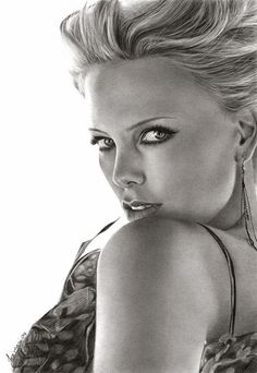 """Charlize Theron"" - Josi Fabri, pencil, 2009 {figurative realism art beautiful female face portrait drawing} steljf.deviantart.com"