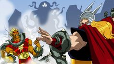 Adam Warlock and Thor vs Shuma-Gorath - Avengers: Earth's Mightiest Heroes The Avengers, Character Concept, Concept Art, Character Design, Ms Marvel, Comic Books Art, Comic Art, Book Art, Avengers Earth's Mightiest Heroes