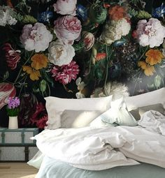 Vintage Dark Floral Self Adhesive Removable wallpaper - traditional wallpaper material Peel and stick Wall Mural Peony wallpaper