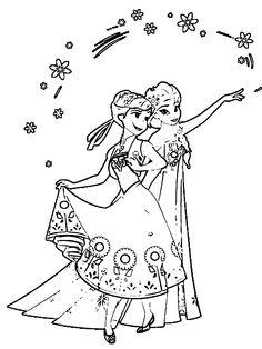 Frozen Fever Anna Elsa Coloring Page