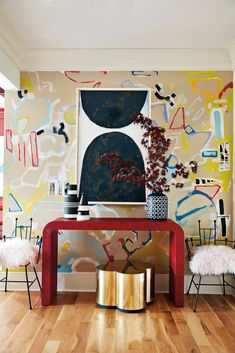 maximalist wallpaper in the entryway