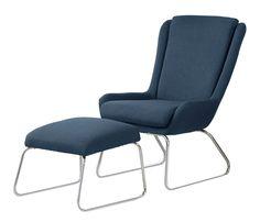 Lounge-Sessel KORA 1, dunkelblau, inkl. Hocker