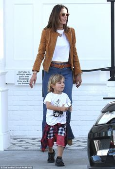 Mommy and me! The Victoria's Secret Angel had just indulged with her three-year-old son, N...