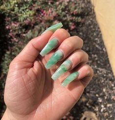 In search for some nail designs and some ideas for your nails? Here's our set of must-try coffin acrylic nails for stylish women. Jade Nails, Aycrlic Nails, Hair And Nails, Manicures, Emerald Nails, Soft Nails, Claw Nails, Simple Nails, Glitter Nails