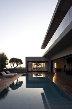 Concrete house with pool