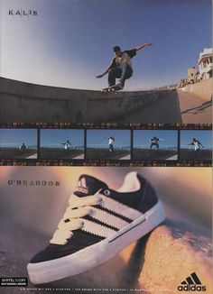 This magazine ad for Adidas Skateboarding from 1996 features Josh Kalis. Skate Shoes, Nike Logo, Old School, Adidas Sneakers, Josh Kalis, Skateboarding, Adidas Originals, Supreme, Fashion