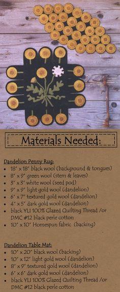dandelion penny rug