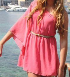 Coral Chiffon Dress www.limalimaoshop.com