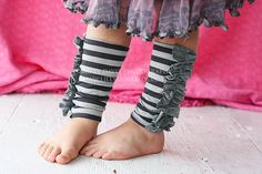Grey Striped Knit Ruffled Legwarmers Girls by LillyAnnaKids