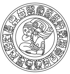 Mayan Calendar coloring page from Mayan art category. Select from 24104 printable crafts of cartoons, nature, animals, Bible and many more.