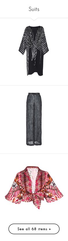 """Suits"" by bliznec ❤ liked on Polyvore featuring black, temperley london, pants, wide leg pants, striped pants, striped wide leg pants, stripe pants, tops, print and patterned collared shirts"
