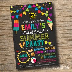 End of School Pool Party Invitation End of School Bash