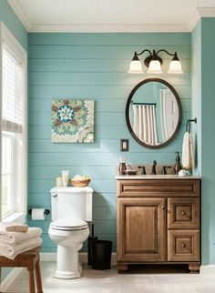 Modern Bathroom With Wooden Slats On Walls In Mint Greenblue - Lowes bathroom colors