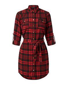 Red Check Tie Waist Shirt Dress | New Look