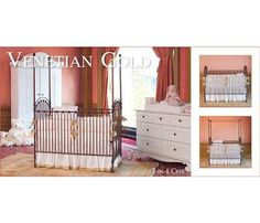 Bratt Decor Casablanca Iron Crib In Venetian Gold, Armoire, Dresser And Tray. See More Baby Cribs at http://www.ourgreatshop.com/Baby-Cribs-C1069.aspx