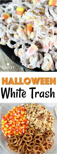 Halloween Candy Corn White Trash recipe from The Country Cook Halloween White Trash mix is a no-bake salty and sweet dessert. A mixture of peanuts, pretzels, candy corn and white chocolate vanilla melts. Halloween Desserts, Halloween Food For Party, Halloween Candy, Halloween Foods, Country Halloween, Halloween Trail Mix Recipe, Happy Halloween, Halloween Halloween, Halloween Decorations
