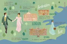 An illustrated map of the key locations from Jane Austen's famous book - Pride…