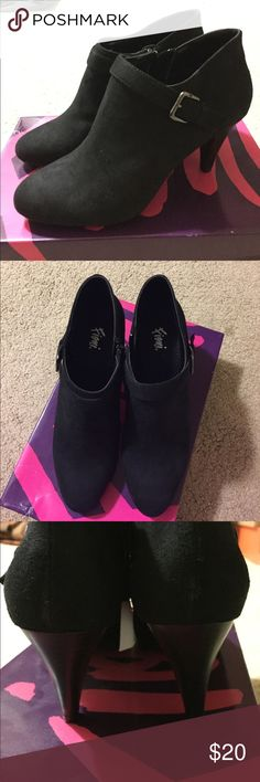 NWT black swede booties! Super cute black swede booties - never worn, NWT! Side zipper, silver buckle detail. Size 8.5 FIONI Clothing Shoes Ankle Boots & Booties