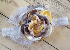 Yellow gray and white satin and lace headband by ClairebowBaby, $17.00