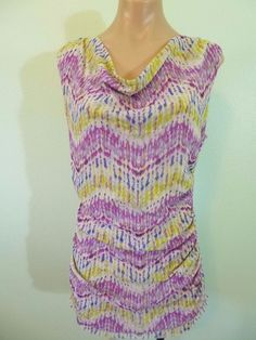 Sweet Pea by Stacy Frati Nylon Cowl Neck Top M Ruched Sides