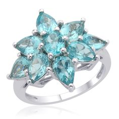 Liquidation Channel | Madagascar Paraiba Apatite Ring in Platinum Overlay Sterling Silver (Nickel Free)