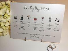 Wedding Timeline Card 'Big Day' DEPOSIT by pixelstopaper on Etsy