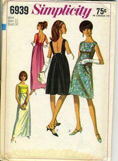 Vintage Simplicity 6939 CUT Misses Empire Waist Low by RomasMaison
