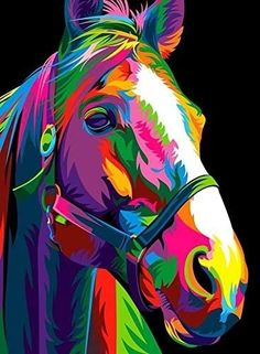 Colorful Animal Paintings, Abstract Animals, Colorful Animals, Painted Horses, Arte Pop, Tableau Pop Art, Art Sur Toile, Dorm Art, Colorful Elephant