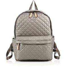 MZ Wallace Oxford Quilted Backpack ($255) ❤ liked on Polyvore featuring bags, backpacks, apparel & accessories, grey, quilted bags, backpacks bags, nylon backpack, quilted nylon bag and quilted backpack