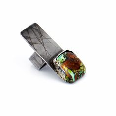 Oxidized and etched Sterling silver abstract ring, set with Royston Turquoise on a half bezel.~ Metalurj Modern Jewelry Design