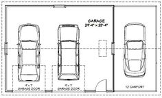 30x24 2 car garage 30x24g1m 720 sq ft uitstekende plannen van - 3 Car Garage Dimensions