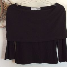 NECESSARY OBJECTS SHAWL NECK BLACK Knit  top. NECESSARY OBJECTS brand SHAWL NECK BLACK long sleeve knit top. 100% polyester,size small, color is much darker than picture.  Excellent condition. The second picture shows the black color of this top better! Necessary Objects Tops Blouses