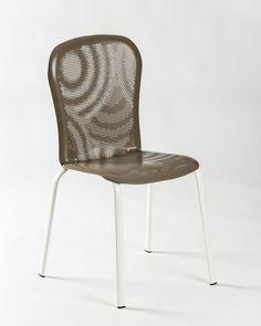 Sedia In Alluminio BEND Con Telaio Bianco, Medes Metal Design