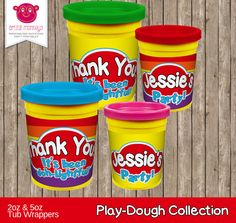 Personalised and Printable Play Doh Inspired Tub Wrappers by ArtfulMonkeys on Etsy
