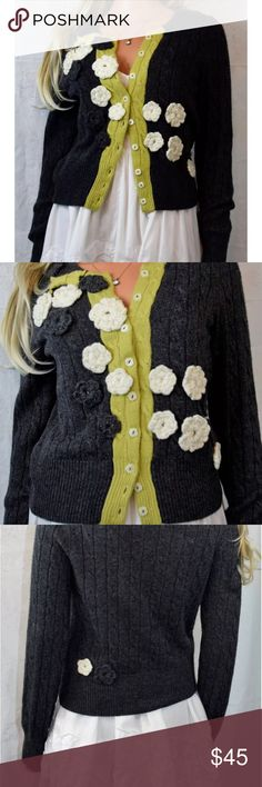 "Anthropologie Field Flower Blossom House Cardigan Rare Anthropologie Field Flower Blossom House cardigan  Women's size S   A generous sprinkling of appliqued flora falls across super-soft charcoal cables, brightened up by a leaf green placket.  Jewel Neck Button front Long Sleeved  Viscose/Lambswool/Nylon/Cotton/Wool/Acrylic/Cashmere/Angora  Dry Clean Excellent used condition - no blemishes Armpit to armpit - 17"" flat unstretched once Length - 20.5"" Sleeve Length 26""  📷 Please see all…"