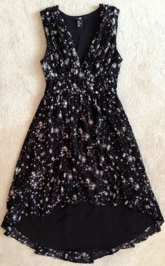 H&M WOMENS BLACK GALAXY HIGH LOW CHIFFON EMPIRE WAIST DRESS NWOT! 2