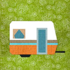 My little trailer Paper pieced quilt block pattern by BubbleStitch--a whole caravan of these in an assortment of sizes and colors would make the cutest baby quilt Paper Pieced Quilt Patterns, Quilt Block Patterns, Patchwork Quilting, Applique Quilts, Pattern Blocks, Quilt Blocks, Quilting Projects, Quilting Designs, Sewing Projects