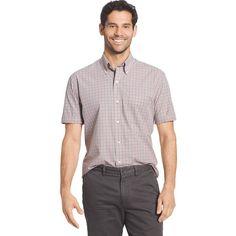Men's Arrow Hamilton Classic-Fit Plaid Poplin Button-Down Shirt, Size: Small, Med Grey