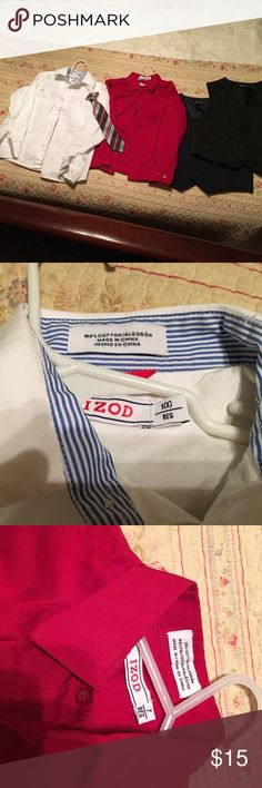 2 long sleeved shirts, 2 vests, 1 tie Boy's size 7-8  Izod long sleeved button down shirts. Two pin striped vests. One black with blue stripes. The other black with red stripes. Silver, blue, and red striped clip on tie. Izod Matching Sets