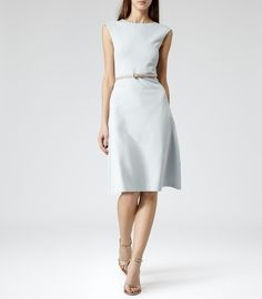 Womens Abyssal Blue Structured Fit And Flare Dress - Reiss Alana