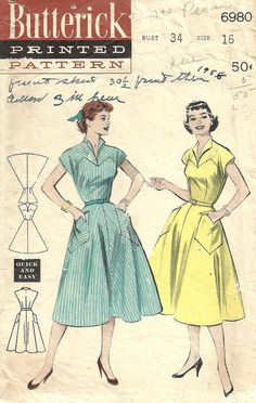 Butterick 6980 Vintage 50s Sewing Pattern Dress by studioGpatterns