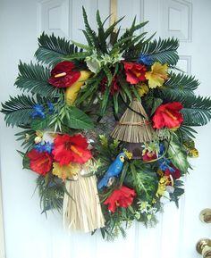 Custom order  Tropical wreath , floral Luau wreath, door wreath, beach decor, Hawaiian decor. $149.99, via Etsy.