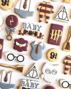 Gift ideas harry potter theme birthday sweet treats cookies by nina marie. Baby Harry Potter, Harry Potter Torte, Deco Harry Potter, Theme Harry Potter, Harry Potter Baby Shower, Harry Potter Food, Harry Potter Birthday, Harry Potter Products, Harry Potter Treats Sweets