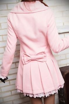 Light pink peacoat with bow and lace -- I would love this with a hood, and of course in a soft grey or dark purple or even a nice teal-ish color