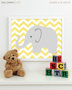 Modern Nursery Art Chevron Elephant Nursery by DallowayPlaceKids, $17.00