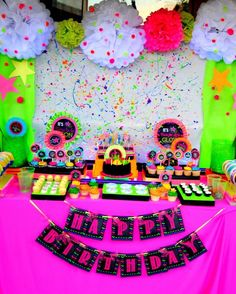 NEON PARTY- Diva Party- Rock Star Party- 80's BANNER- Cheetah Party- Tween