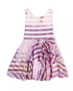Kate Mack Pink Daisy Floral Scuba Sleevless Summer Girls Dress Size 14 NWT