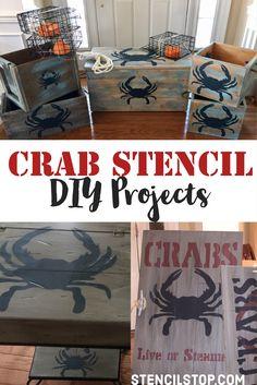 Crab Stencil DIY Projects // Nautical Stencil Designs // DIY Projects // Wall Stencils // Letter Stencils // Custom Stencils